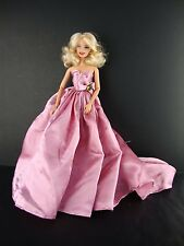 Long Flowing Gown in Pink with Large Train Made to Fit Barbie Doll