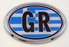 Greece GR Greek Flag Car Chrome Emblem Bumper Sticker flag decal oval
