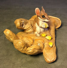 Rare Mouse On A Glove Sculpture By Artist Sandra Johansson Signed Numbered