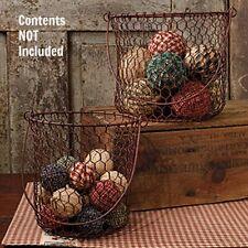 Farmhouse Decor Wood Handle Small Rusty Wire Egg Gathering Basket