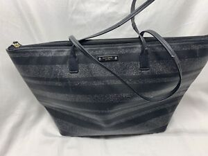 Kate Spade New York Glitter Large Top Zip Tote Handbag - Black Preowned AS-IS