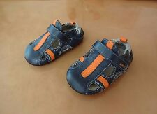 ROBEEZ NAVY BLUE/ORANGE LEATHER BOYS SHOES 9-12 MONTH US 4