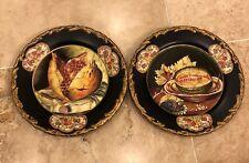 **2 Raymond Waites Decorative Black Plate Painted Fruit Motif Toyo Trading Co