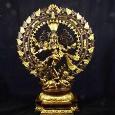 Shiva Nataraja, der kosmische Tänzer, Messingguss aus Indien