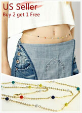 Women Waist Chain Belly Bikini Body Jewelry Rhinestone Back Chain Beach Style B