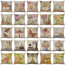 "18"" Vintage Flowers Cotton Linen Pillow Case Throw Cushion Cover Home Decor"
