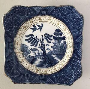 Vintage 14.3cm Blue Willow Manto Ware Japan Square Sandwich Plate