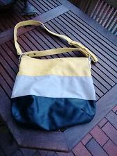 Schicker Shopper Tasche Schultertasche Leder Gelb Beige Schwarz 2 Riemen 40 x 40