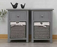 EXQUI Bedside Table Set of 2 Grey Wooden Night Stand Storage