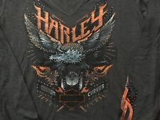 Harley Davidson Custom Curves V Neck Long Sleeve Gray Shirt NWT Women's XXL