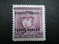 Germany Nazi 1939 Stamp MNH Tested Signed Overprint Gen. Milan Stefanik B&M WWII