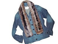 BCBG BCBGeneration NEW womens JEAN fur removable JACKET Size Small