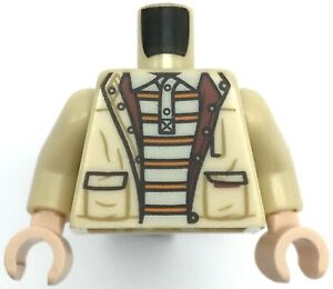 Lego New Tan Minifig Torso Jacket over White Polo Shirt 6 Orange Stripes Pattern