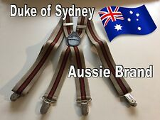 Formal, High-Quality, 4-Clip Men's Suspenders (Aussie Brand: Duke of Sydney)