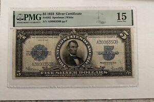 "$5.00 Silver Certificate 1923, ""Porthole"",  Fr# 282 Speelman/White.  PMG F-15"