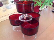 Vintage LUMINARC- France~4 RUBY RED STEMMED  SUNDAE GLASSES/ BOWLS
