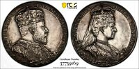 GREAT BRITAIN Coronation Silver Medal,1902 Edward VII & Alexandra PCGS SP62
