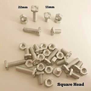 Greenhouse Bolts & Nuts 11mm or 22mm SQUARE Head Aluminium Bolts For Greenhouse