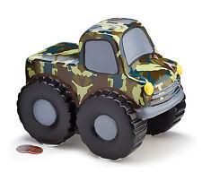 Ceramic Camouflage Monster Truck Tires Piggy Bank Large Saving Money Decor HUGE!