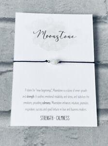 Moonstone Bracelet Bead Reiki Chakra Crystal Gemstone Anxiety Stress Healing