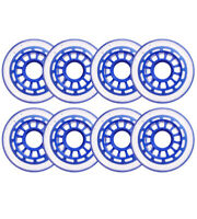 Clear / Blue Inline Skate Wheels 76mm 78a 8-Pack for Roller Hockey