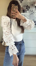 Zara Contrast Sleeve Sweater Top Blouse White Cutwork Embroidery BNWT S M