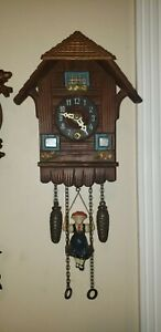 German Bouncing Girl On Swing Cuckoo Clock