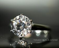4 CT VVS/D ROUND CUT SOLITAIRE ENGAGEMENT RING 14K WHITE REAL SOLID GOLD