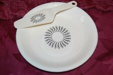 Vintage Porcelain Pie Plate & Knife Server Set Black Crazy Eight Design