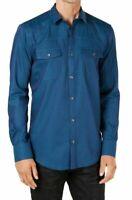 INC Mens Shirt Blue Size Large L Button Down Longsleeve Dual Pocket $49 #203