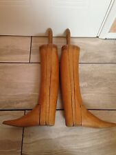 Edwardian Vintage Long Leather Riding Hunting Equestrian Boots Wood Trees Lasts