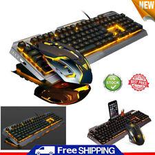 Gaming Keyboard and Mouse Set LED Backlight USB Wired Mechanical Feel Ergonomic