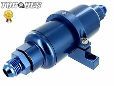 "AN -8 (AN8 JIC -8) Blue Billet Fuel Filter 10 Micron And Billet Cradle 5.5""x 2"""