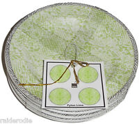 222 Fifth Python Lime Fine China Set of Four Appetizer Plates ~  NEW