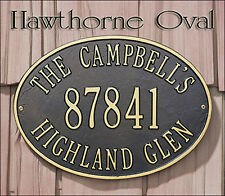 Whitehall Hawthorne Oval Address Marker Plaque Sign 17 Color Choices & 2 Mounts