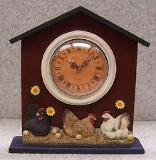 Clock Barnyad Chickens table shelf mantel desk New