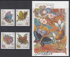 Somalia (Soomaaliya) - Michel-Nr. 636-639 + Block 42 postfrisch/** (Schmetterlin