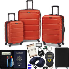 Samsonite Omni Hardside Luggage Spinner Set, Burnt Orange w/ 10pc Accessory Kit
