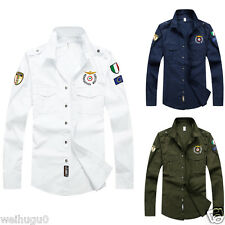 New Mens Cotton Military Double pocket Casual Slim Long Sleeve Dress Shirts GT49