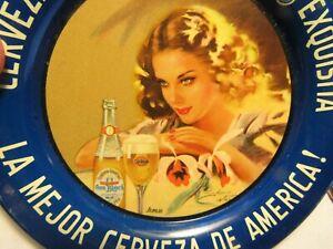 1940's CARTA BLANCA Mexican beer  CUTE MEXICAN GIRL  tip TRAY