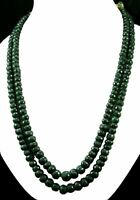 2 Strands Natural Emerald 879ct Big Size Faceted Beads Gemstone Stings Necklace