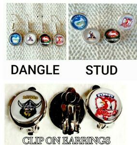 NRL RUGBY LEAGUE EARRINGS STUD - DANGLE - CLIP ON 🇦🇺HANDMADE IN AUSTRALIA🇦🇺