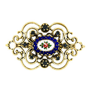 Vintage 14k Gold Round Sapphire 4mm Pearl & Blue Enamel Textured Open Brooch Pin