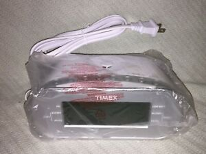 Timex Large Display Dual Alarm Clock Radio with Aux Port T231Y White and Silver