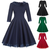 50s Retro Swing Housewife Cocktail Ladies Vintage Pinup Evening Party Prom Dress
