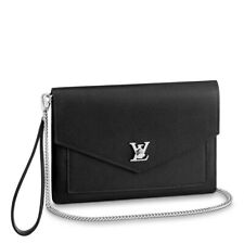 Louis Vuitton MYLOCKME POCHETTE BLACK LEATHER CHAIN WALLET CLUTCH BAG NEW IN BOX