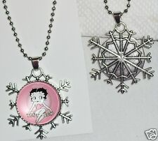 "Pink Betty Boop Snowflake Necklace on 18"" Ball Chain Free ship Within USA"
