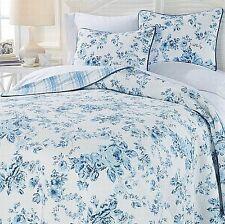Jeffrey Banks Cotswold Blue Floral Reversible 3 Pc Quilt Set w 2 Shams King Size