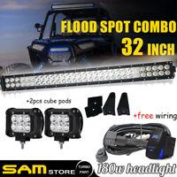 "32""Inch LED Light Bar+ 2x 18W Pods+Wiring Kit For Polaris RZR 570 800 900 xp1000"