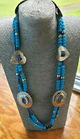 Vintage Faux Turquoise Bead Silver Tone Blue Suede Tie Belt Necklace Boho